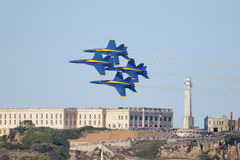 Anges bleus au-dessus d'Alcatraz Image libre de droits