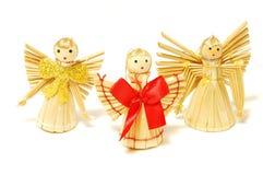 Anges de paille de Noël Image stock