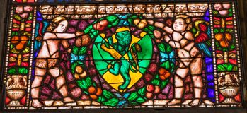 Anges Lion Stained Glass Santa Maria Novella Church Florence Italy photos stock
