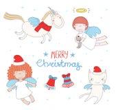 Anges mignons de Noël illustration de vecteur