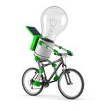 Angeschaltenes Glühlampesolarroboter - einen Kreislauf durchmachend Lizenzfreies Stockfoto