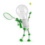 Angeschaltenes Glühlampesolarroboter - Tennis Lizenzfreie Stockfotos