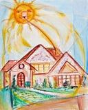 Angeschaltenes Solarhaus Stockbilder