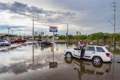 Angeschwemmter Fahrer stockfoto