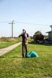 Angeschwemmter Flüchtling in Tovarnik Stockfotografie