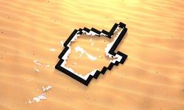 Angeschwemmter Mäusehand-Cursor auf dem Sand der Wüste Stockbild