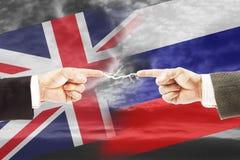 Angespannte Beziehungen zwischen Russland und Großbritannien Stockbild