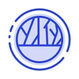 Angesteckte Wunde, Infektion, Haut-Infektion, Linie Ikone der Haut-Wundblauen punktierten Linie lizenzfreie abbildung