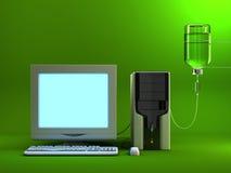 Angesteckter Computer Stockbild