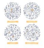 Angestellt-Motivations-Gekritzel-Konzepte stock abbildung