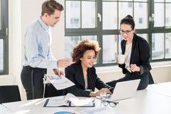 Angestellte, die zusammen Dokumente und Geschäftsberichte überprüfen Stockfotos