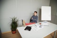 Angestellter denkt mit seinen Füßen auf dem Tisch Stockbild