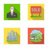 Angestellter der Agentur, verkauft, Metropole, Landhaus Vector gesetzte Sammlungsikonen des Grundstücksmaklers in der flachen Art Lizenzfreie Stockfotos