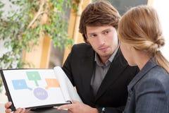 Angestellter, der seine Idee dem Chef darstellt Lizenzfreies Stockfoto