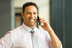 Angestellter, der am Telefon spricht Stockfotos