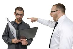 Angestellter, der von seinem Älteren gescholten erhält Stockbilder