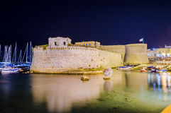 Angevine-Aragonese Castle in Gallipoli at night, Apulia, Italy. Scenic night view of the Angevine-Aragonese Castle in Gallipoli, Salento, Apulia, Italy Royalty Free Stock Photos