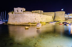 Angevine-Aragonese Castle in Gallipoli at night, Apulia, Italy. Scenic night view of the Angevine-Aragonese Castle in Gallipoli, Salento, Apulia, Italy Stock Photography
