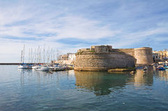 Angevine-Aragonese Castle. Gallipoli. Puglia. Italy. Landscape view with Angevine-Aragonese Castle. Gallipoli. Puglia. Italy Royalty Free Stock Photo