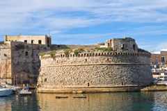 Angevine-Aragonese Castle. Gallipoli. Puglia. Italy. Perspective of the Angevine-Aragonese Castle of Gallipoli. Puglia. Italy Royalty Free Stock Images