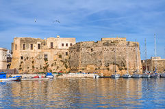 Angevine-Aragonese Castle. Gallipoli. Puglia. Italy. Panoramic view with Angevine-Aragonese Castle. Gallipoli. Puglia. Italy Royalty Free Stock Photography