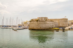 Angevine-Aragonese Castle in Gallipoli, Salento, Apulia, Italy. Scenic view of the Angevine-Aragonese Castle in Gallipoli, Salento, Apulia, Italy Stock Images