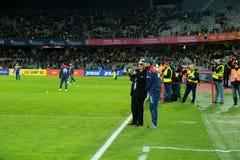 Anghel Iordanescu lagledare av det nationella fotbollslaget av Rumänien Fotografering för Bildbyråer