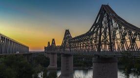 Anghel saligny brug bij zonsondergang royalty-vrije stock foto's