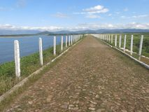 Angicos water reservoir, road above the barrier stock photos