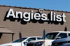Angie Lijstbureaus Angie de Lijst is een website van de huisdiensten met overzichten van lokale ondernemingen I stock afbeeldingen