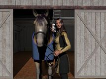 Angie and Tippie at the Barn Royalty Free Stock Photography