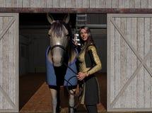 Angie y Tippie en el granero Fotografía de archivo libre de regalías