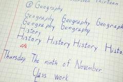 Angielska edukacja, słownictwo notatnik z wpisową historią, geografii słowa Zdjęcie Stock