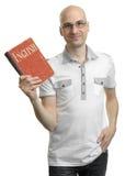 Angielska edukacja Szczęśliwy przypadkowy mężczyzna z książką fotografia stock