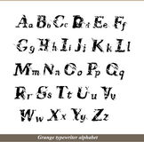 Angielski abecadło - grunge typewritter listy Zdjęcia Royalty Free