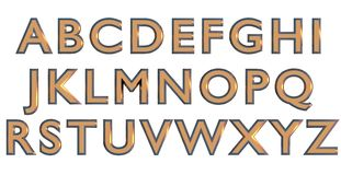 Angielski abecadło w złocistym wierzchu - skrzynka listy, obyczajowy 3D chrzcielnicy wariant Fotografia Stock