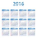 Angielski błękitny glansowany kalendarz dla 2016 royalty ilustracja