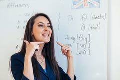 Angielski lekcyjny nauczyciel pokazuje dlaczego wymawiać dźwięki fotografia stock