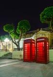 Angielski telefoniczny pudełko na lato nocy Zdjęcia Stock