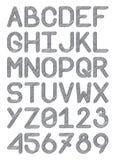 Angielskiego chrzcielnicy typeface kapitałowi listy i liczb ołówkowe linie szare Zdjęcie Stock