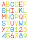 Angielskiego chrzcielnicy typeface kapitałowi listy i liczba nowożytny styl Obraz Stock