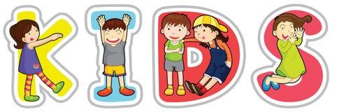 Angielszczyzn słowa dzieciaki ilustracja wektor