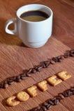Angielszczyzny formułują & x22; Coffee& x22; , robić up solankowi krakers listy zdjęcia stock