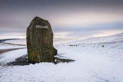 Angielszczyzny Graniczą markiera kamień Zdjęcia Royalty Free