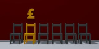 Angielszczyzny walą symbol i rząd krzesła ilustracji