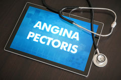 Angina pectoris (heart disorder) diagnosis medical concept on ta. Blet screen with stethoscope Stock Images