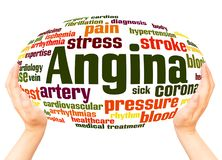 Angina word cloud hand sphere concept. On white background stock photos