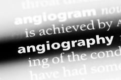Angiography. Word in a dictionary.  concept Stock Photo