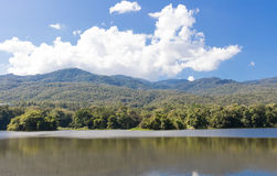 Angkaew Chiangmai University Thailand. Beautiful lake and mountain at Chiangmai University thailand Stock Image