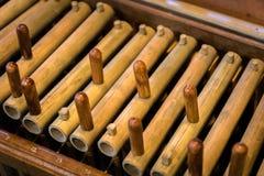 Angklung, παραδοσιακό ξύλινο όργανο μουσικής που παίζεται στη δυτική Ιάβα, Ινδονησία Στοκ Εικόνες